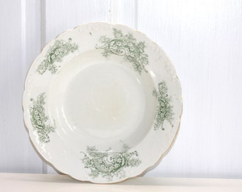 Green transferware bowl from England