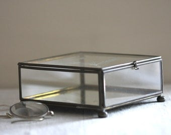 Glass Box with etched bird and interior mirror  very lovely..