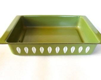 Vintage 1960's Catherineholm Green Lotus Pattern Enamelware Rectangular Casserole Dish!