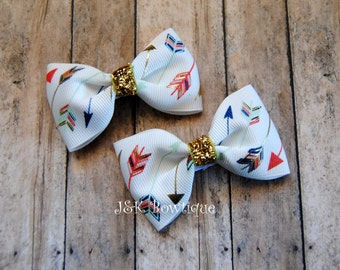 Arrow hair bows, set of bows, gold glitter, hair bows, baby bows, clip sets, little hair bows, toddler hair bows, hair clips, baby bows