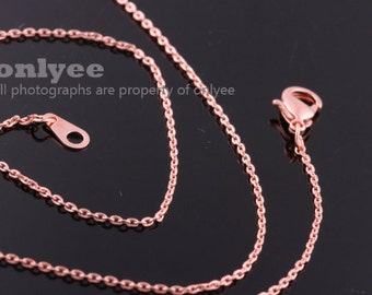 4pcs- 16inch Rose Gold Plated solid brass 0.65mm thickness Chain for beads with Lobster Clasp (N134R)