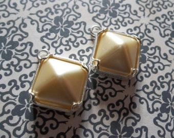 Ivory Glass Charms - 12mm Czech Glass Cream Pearl Pyramid Stud Charms - Pendants in Silver Plated Brass - Qty 2