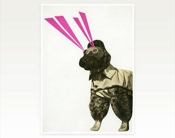 Space Dog Art, Surreal Collage Print, Vintage Art - Space Dog