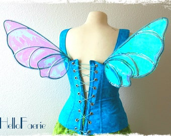 Tiny Blue Merryweather Iridescent Fairy Wings Renaissance fairy Child size Baby Fairy