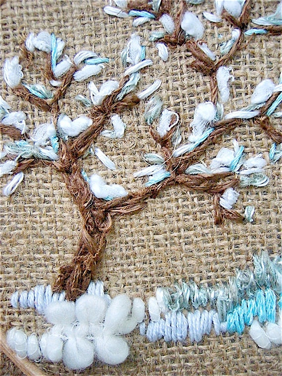 Hoop Art Tapestry Embroidered Wall hanging Hand Embroidered Hoop Art Textiles Fiber art Modern art Home decor Four seasons Tree winter