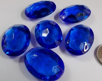 Rare (6) Vintage 25x18mm Oval Sapphire Blue Double Faceted Glass Jewels
