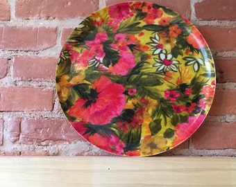 Vintage Plastic Hawaiian Floral Serving Platter