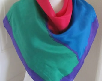 """ECHO // Lovely Colorful Soft Silk Scarf  // 31"""" x 31 Square (8107)"""