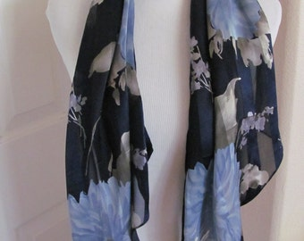 Lauren Ralph Lauren // Ladies Dark Blue Floral Silk Scarf // 15 x 62 Long // Best of the Best