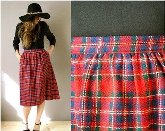 ON SALE Vintage 1970s Pendleton Wool Plaid Skirt