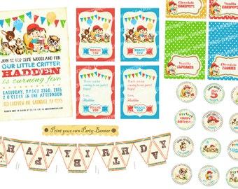 Digital PRINTABLE Vintage Woodland Animals Deer Fawn Teddy Bear Flower Birthday Tea Party Boy Package Set Banner Invitation Label Card PP28