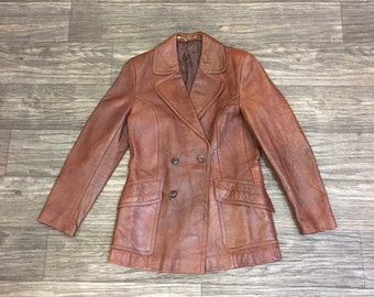 70's WILLERBY Leather Blazer Coat HBO VINYL