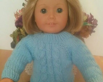 "Handknit Ice Blue Cabled Sweater for 18"" Dolls"