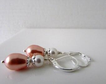 Wedding Earrings, Rose Peach Earrings, Peach White Earrings, Pearl Earrings, Swarovski Earrings, Wedding Jewelry, Free US Shipping