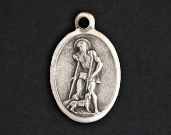 Saint Lazarus Medal. Catholic Pendant. St Lazarus Pendant. Saint Lazarus Charm. Catholic Saint Medal. 25mm x 16mm (Qty 1)