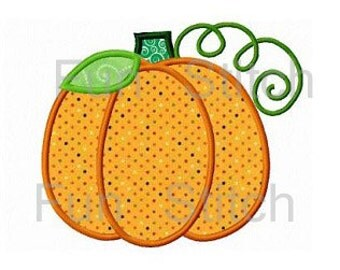 pumpkin applique machine embroidery design instant download
