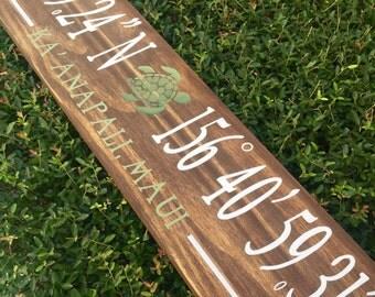 Made to order latitude and longitude custom sign