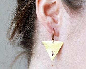 ARROW triangle earrings // raw brass hook earrings // hand stamped jewelry
