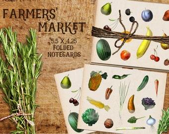 Set of 5 Note Cards With Kraft Paper Envelopes (Farmers' Market, Fruits, Vegetables, Cooking, Gardening)