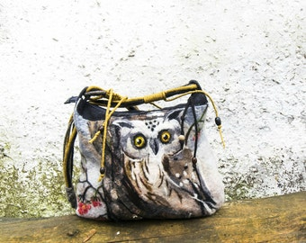 One of kind Felt Wool Tote bag OWL, Nuno Felted Coin Purse , Pouch, Clutch, handmade, OOAK, Wet Felted   Ready to Ship