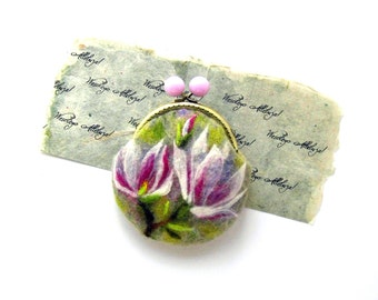 Magnolia FLOWER Wet Felted coin purse Ready to Ship with bag frame metal closure gift for her