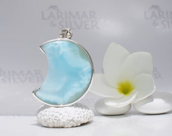 Larimar moon by Larimarandsilver, Moon Alchemy - translucent sea blue Larimar crescent, aquamarine moon, sea moon, handmade Larimar pendant