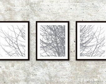 Modern Tree Triptych / Tree Branches Prints / Set of 3 / Winter Tree Wall Art / 5x7 or 8x10 / Slate Grey / Aldari Art