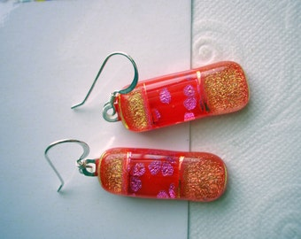 Dichroic Earrings Pink Petals on Red Orange Fused Glass .925 Sterling Silver Earwires Long Earrings Iridescent Red Orange Jewellry Flowered