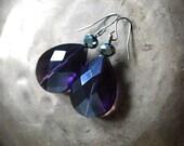 Purple Crystal drop Earrings - Shimmering deep purple faceted glass teardrop Dangle earrings