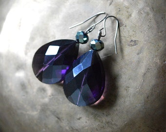 Purple Crystal drop Earrings - Shimmering deep purple faceted glass teardrop Dangle earrings