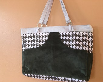 Phoebe 1420E  Modern Extra Large Purse, Houndstooth and Ultra Suede, Up cycled Fabric