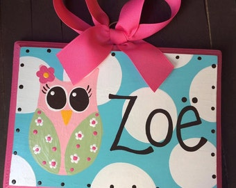 Bow Holder - OWL DOT Design - Large - Handpainted and Personalized HairBow Holder