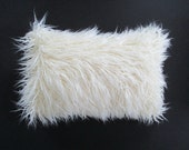 Faux Fur 12 x 18 Lumbar Pillow Cover Curly Mongolian Lamb Zipper Ivory or Black