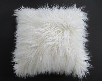 White Faux Fur Pillow Cover Curly Mongolian Lamb Zipper