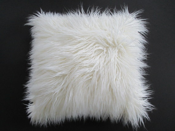 White faux fur pillow cover curly mongolian lamb zipper for White faux fur pillow