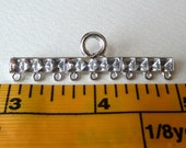 Long End Bars - 9 Strand End Bars with Settings for Rhinestones  -  1 to 9 Multi Strand Strong Vintage Silver Plated Castings - Qty 2 pcs