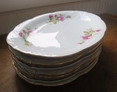 Seven Vintage China Platters with Roses and Gold Edging Made in Poland