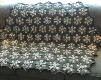 Handmade Crochet Hexagon Shaped Granny Afghan Shades of Green 48 x 64
