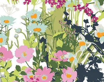 Aqua Blue Pink and Green Floral Cotton Fabric, Lavish by Katarina Roccella for Art Gallery Fabrics, Mothers Garden Light, 1 Yard