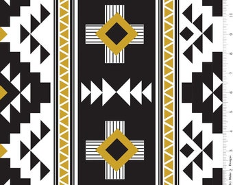 Black White and Gold Aztec Jersey Knit Fabric, Four Corners by Simple Simon for Riley Blake Designs, 1 Yard JERSEY KNIT