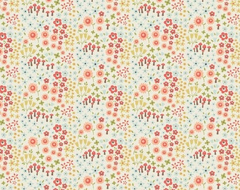 Coral Green and Blue Petite Floral Cotton Fabric, Woodland Spring Designs by Dani for Riley Blake Designs, Petal Print in Cream, 1 Yard