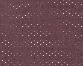 Burgundy and White Pin Dot Chambray, Cotton Chambray Dots Collection by Robert Kaufman