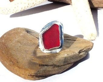 Red Sea Glass - Sea Glass Ring - Sterling Silver - Size 8 1/4 - Lake Erie Beach Glass -