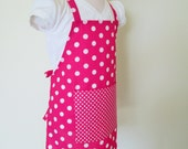 Childrens Apron - Hot Pink Powerful Polka Dot Kids Apron, a fun retro childrens apron to cook or do crafts in, a sweet party favor