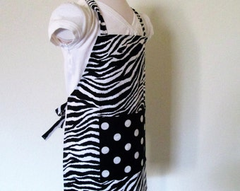 Childrens Apron - A Safari Zebra Print with Retro Dots on the Pocket - A fun kids apron, great for cooking, painting, arts and crafts