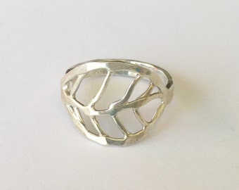 Open leaf hand forged Sterling Ring