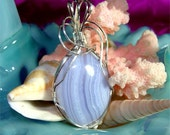 Beautiful BLUE LACE Agate Pendant set in STERLING Silver w/ Free Gift