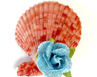 Pink Shell Hair Fascinator, Beach Wedding Fascinator, Shell and Flower Hair Clip, Women's Hair Clip, Pink and Blue Hair Clip, Free Shipping