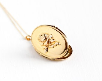 Vintage Gold Plated Rose Flower German Locket Necklace - 1940s WWII Germany Oval Pendant Elegant Floral Gold Filled Original Photo Jewelry