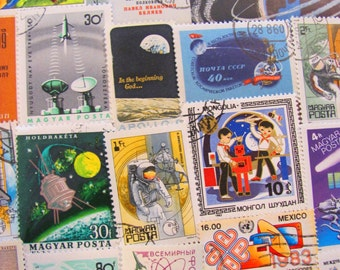 Final Frontier 50 Vintage Space Postage Stamps Space is the Place Nasa Cosmonaut Astronaut Sci-Fi Moon Aliens Planets US Worldwide Philately